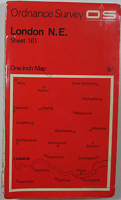 1968 old vintage OS Ordnance Survey seventh series one-inch Map 161 London N E