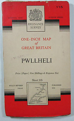 1959 old vintage OS Ordnance Survey one-inch seventh Series Map 115 Pwllheli