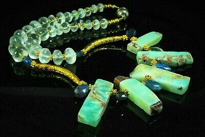 Antique SAPPHIRE Amazonite Gold Bead Old Spindle Whorl Egypt Revival Necklace
