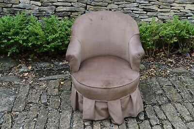 A Victorian Velour Chair Raised On Turned Ebonised Legs