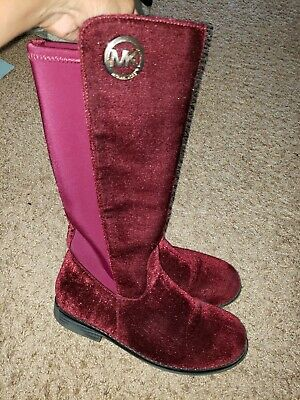 girls michael kors boots size 3 suede burgandy slightly used