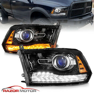 For 2009-2018 Dodge Ram 1500 2500 3500 Black LED DRL Projector Headlights