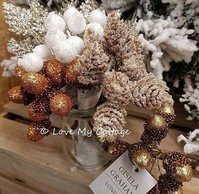 Pick 11cm Red Cones Bunch Gisela Graham Christmas