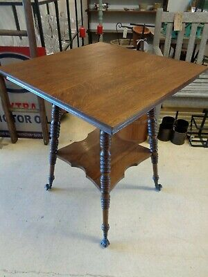 Antique Oak Table - Turned Legs - Claw & Glass Ball Feet