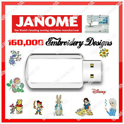 160,000 Janome, New Home Machine Embroidery Design files JEF on USB