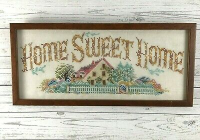 Vintage Framed Needlepoint Cross Stitch Home Sweet Home Sampler 22 x 10