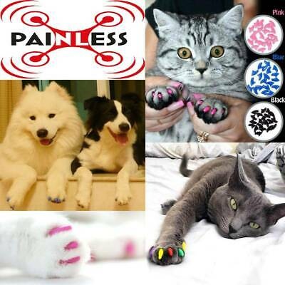 20pcs Painless Soft Pet Nail Caps Claw Cover Silicon Paw Protector For Cat & Dog
