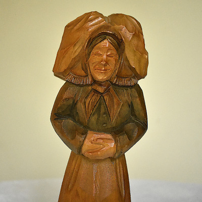 Vintage Large Hand Carved Black Forest Woman - Germany Figurine 8-1/2""