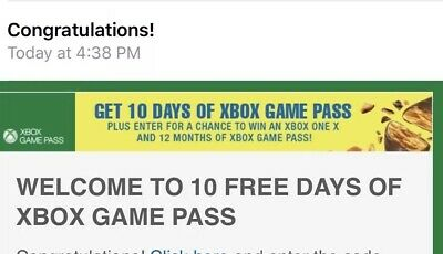 Xbox 10 Day Game Pass (sent Via Email)