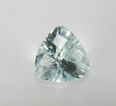 1.12 Cts Natural Blue Aquamarine Faceted Gemstone Checkerboard Trillion AQM692