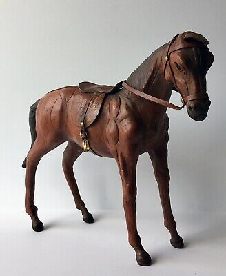 """Vintage Brown Leather Wrapped Horse Statue Figure Saddle & Glass Eyes 12"""" Tall"""