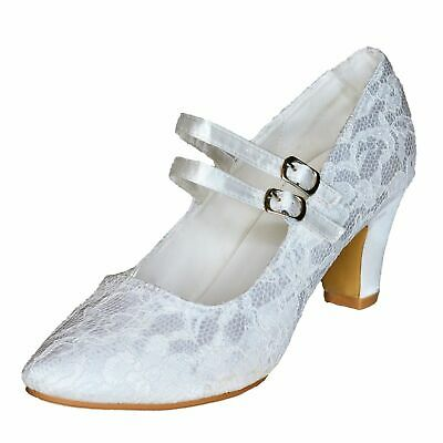 Ladies Mid Heel Bridal Shoes Women Floral Satin Lace Wedding Strappy Pumps size