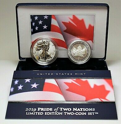 2019 Pride of Two Nations Silver Limited Edition 2 Coin US Set Box OGP & COA
