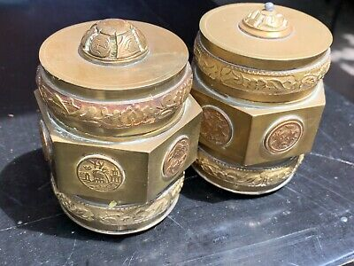 Pair of Vintage Chinese Brass Bronze TEA CADDYS SPICE BOXES