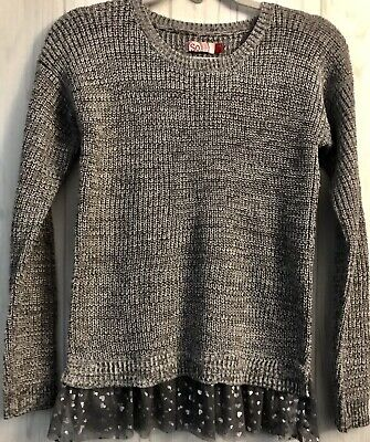 So Girls Sweater Sz. (14) Grey With Silver Hearts Detailing