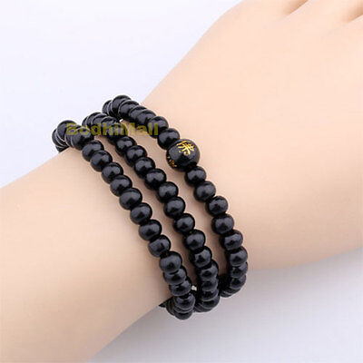 Buddha Meditation Wood Prayer 6mm 108 Beads Rosary Bracelet - Black