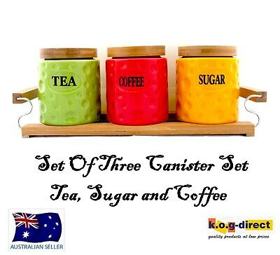 Set Of 3 Coloured Canister Set Tea Coffee And Sugar Wooden Stand Round Hw-181