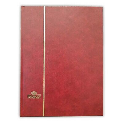 Prinz 32 Black Page Stamp Stockbook Hard Cover Available in Black / Red / Blue