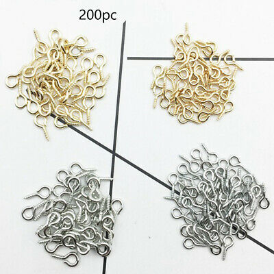 200pcs Eyelets Screw Eye Pins DIY Jewelry Accessories Bail Findings Threaded