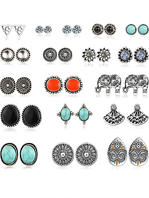 Mtlee 18 Pairs Assorted Boho Stud Earrings Set Vintage Round Beads Earring for