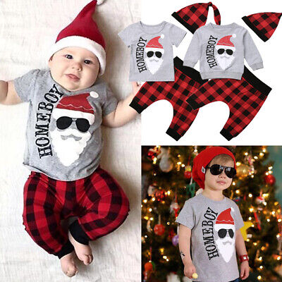 US Christmas Newborn Baby Boy T shirt Tops+Harem Pants 3pcs Outfits Set Clothes