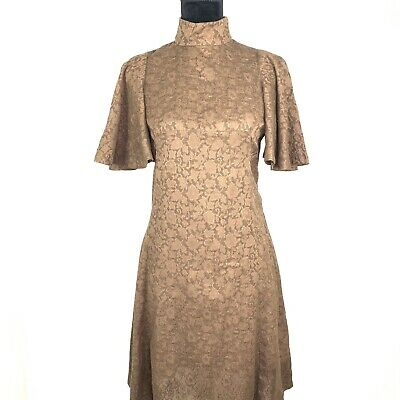 Vintage Lace Dress Womens Size Medium A-line Fit Flare Zip Up S/S Handmade