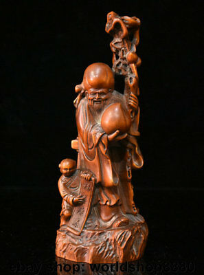 """8"""" Old Chinese Boxwood Wood Hand Carved longevity God Shouxing Boy Peach Statue"""