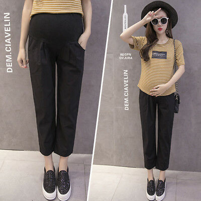 Gn_ Women Summer Maternity Casual Solid Pregnant Over The Belly Ninth Pants Nice