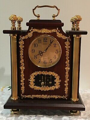 """Seiko 14"""" Gilded Brass & Wood Mantel Clock French Style"""