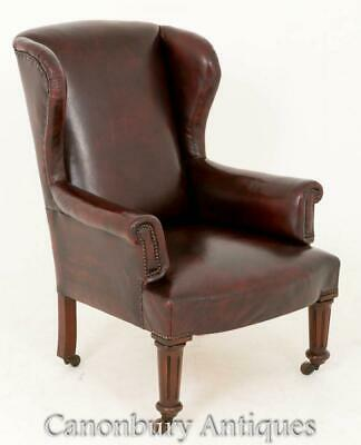 Victorian Leather Gentlemans Wing Arm Chair