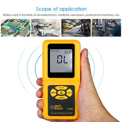 GN_ SMART SENSOR Handheld LCD Surface Resistance Meter Tester with Temperature N