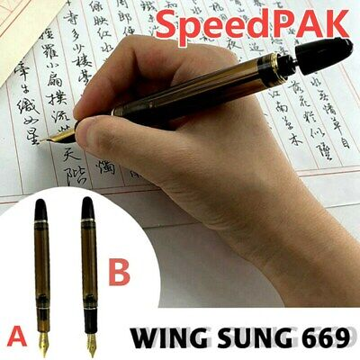 2019 New Wing Sung 699 Brown Translucent Vaccum Filling Fountain Pen Fine Nib