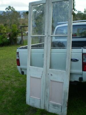 pine french doors 4 clear glass 2 timber panels pine frame,larger base panel