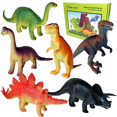 Dinosaur Playset Toys Set of 12 Large Plastic Jurassic Era Action Figures Named