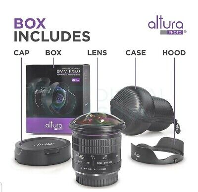Altura Photo 8MM f/3.0 Fisheye Lens for Canon - Ultra Wide Angle Aspherical Lens