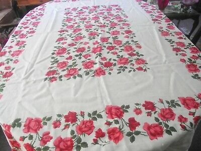 """Vtg Linen Tablecloth Adorned With Many Red / Pink Roses  50"""" X 65 """" Rectangular"""