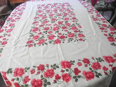 "Vtg Linen Tablecloth Adorned With Many Red / Pink Roses  50"" X 65 "" Rectangular"