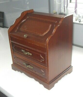 ANTIQUE MAHOGANY BUREAU WRITING DESK DESIGN VINTAGE 1960s TRINKET JEWELLERY BOX