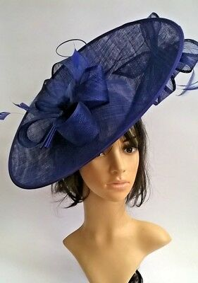 Cobalt Blue Hatinator..Large oval disc with bow & quills Wedding.races.,ascot