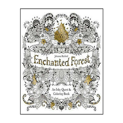 Enchanted Forest An Inky Quest and Colouring Book By Johanna Basford NEW