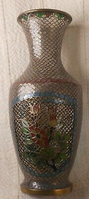 Good Chinese Plique a Jour Reticulated Cloisonne Vase With Flowers, 6 1/4''