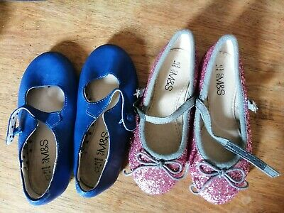 M&S girls party 2 pairs of shoes infant 8 size used
