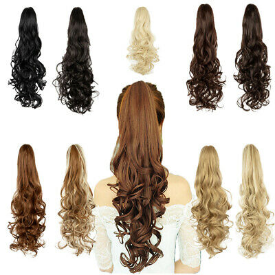 24''  Long Womens Curly Wavy Claw Clip In Hair Ponytail Synthetic As Human Hair