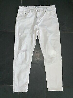 Zara Ladies Straight Leg Distressed White Denim Jeans Eu 42 Uk12