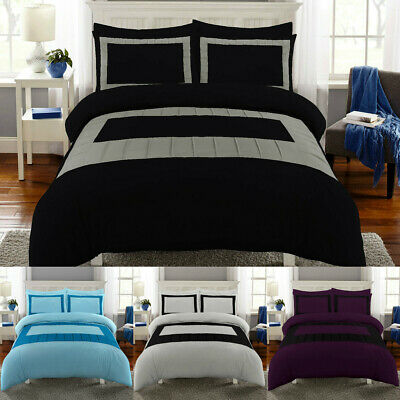 Luxury Duvet Cover Set Double Super King Size Bedding Quilt Bed Black Silver etc