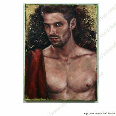 Handpainted man portrait oil painting male nude muscle gay interest