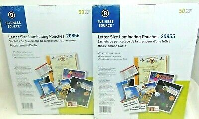 """2X Business Source Laminating Pouches Letter 5Mil 9""""x11-1/2"""" 2X 50 Clear 20855"""