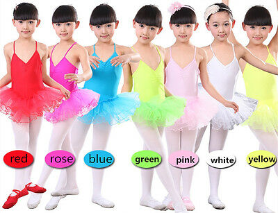 White Yellow Pink Green Red Blue Girls Tutu Leotards Ballet Dance Show Age 3-8yr