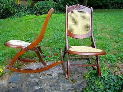 Vintage folding rocking chairs, wooden