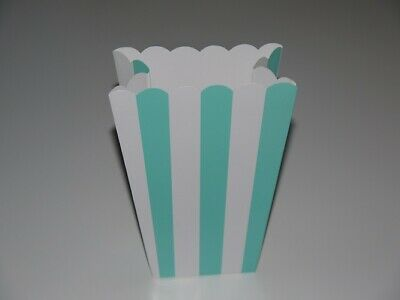 5 CANDY STRIPE TREAT BOX Party Sweets Popcorn Favour Boxes Green/Blue Scalloped